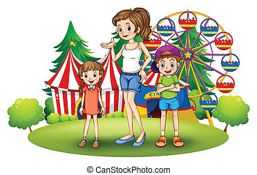 A family at the amusement park with a ferris wheel -...