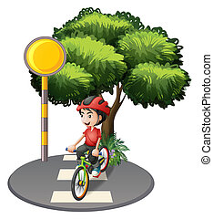 A street with a boy biking - Illustration of a street with a...