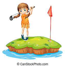 A young woman playing golf
