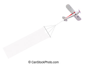 Single engine plane with banner - Single engine plane flying...