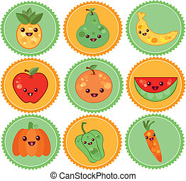 badge with fruits and vegetables