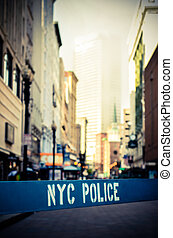 Retro NYC Crime Scene - Retro Style Photo Of A Poice Barrier...