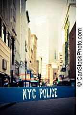 Retro NYC Crime Scene - Retro Style Photo Of A Poice Barrier...