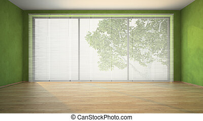 Empty room with green walls