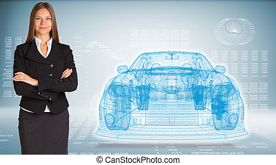 Businessman with wire frame car - Businesswoman with wire...