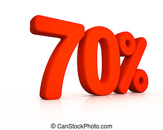 seventy percent simbol on white background 3D