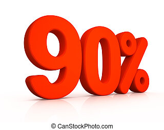 ninety percent simbol on white background 3D
