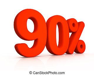 ninety percent simbol on white background 3D