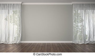 Empty room with two curtains 3D