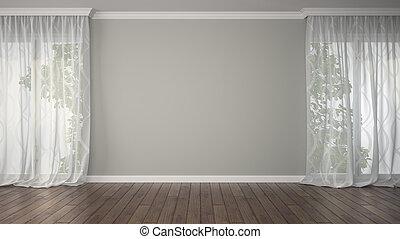 vide, salle, deux, rideaux