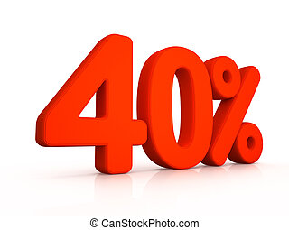 Forty percent simbol on white background 3D