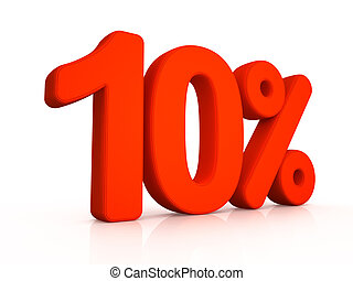 Ten percent simbol on white background 3D