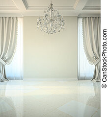 Empty room in classic style with crystal chandelier 3D