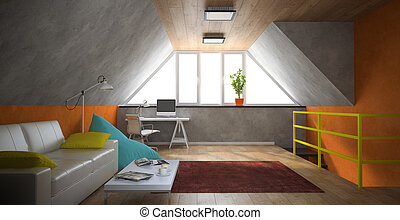 Interior of a modern loft with yellow railing 3D