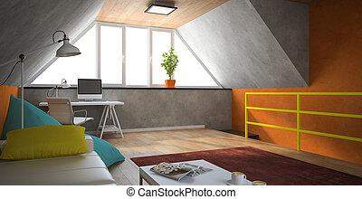 Interior, modernos, sótão, laranja, paredes