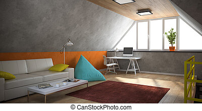 Interior of a modern loft with yellow railing and orange...