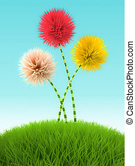 Three clover flowers in the grass on blue background 3D