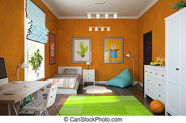 Part of interior modern childroom 3D