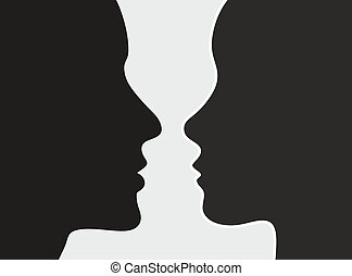 heads of woman and man attract each other