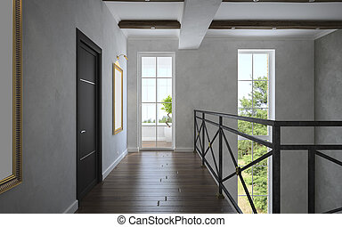 Part 3 of the classical interior, staircase view 3D