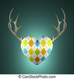 Rhombus heart with antlers on the turquoise background 3D