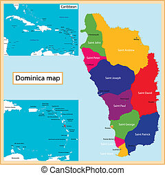 Dominica map - Map of the Commonwealth of Dominica drawn...