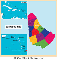Barbados Map - Map of Barbados drawn with high detail and...