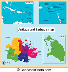 Antigua and Barbuda map - Map of Antigua and Barbuda drawn...