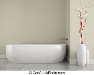 Part of the interior bathroom with branches decor