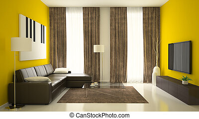 Part of interior with yellow walls 3D