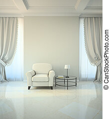 Room in classic style with armchair and coffe table 3D