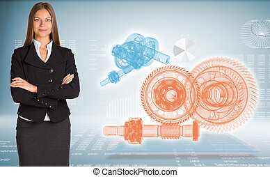 Businesswoman with wire frame gears - Businessman with wire...