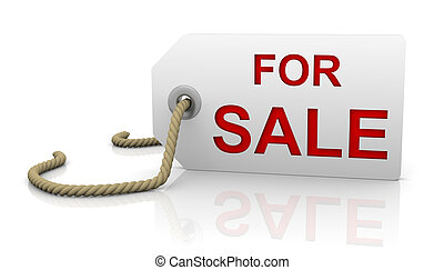 For sale tag in right position - For sale tag with white...