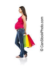 vit, kvinna, inköp, isolerat, gravid