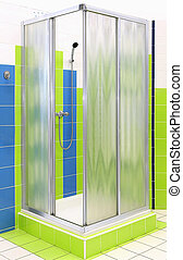 Shower cabin - Square shape shower cabin with mat glass