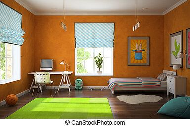 Part of interior modern childroom with orange walls 3d
