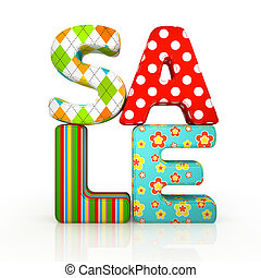 Sale fabric word on white backround 3D
