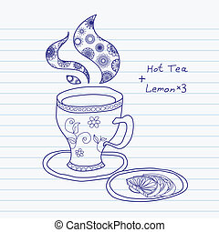 Teacup - Hand drawn teacup with three lemons. Vector...