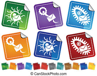 Virus Email Sticker Icon Set