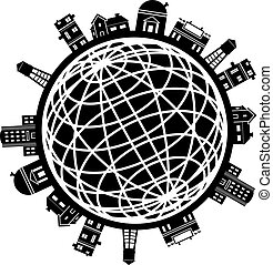 City Globe - Set of buildings around a wire frame globe in...