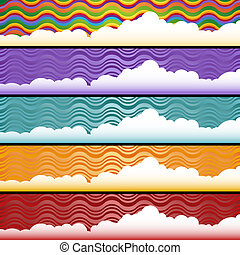Cloud Web Banner Set - Horizontal abstract banners with a...