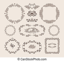 Set of ornamental vector frames and badges - Set of...