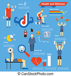 Sport and fitness infographics showing athletes working out...