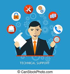 Technical support Icon in flat style vector illustration