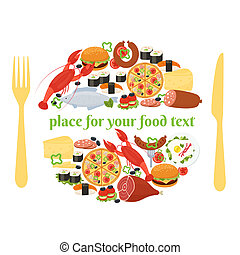 Food badge concept with knife and fork