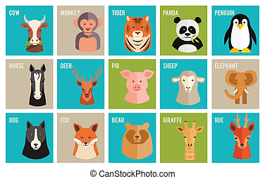 Vector icons of animals and pets in flat style - Set of...