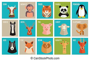 vecteur, icônes, animaux, animaux familiers, plat,...
