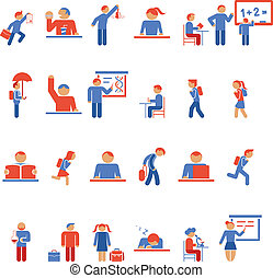 Children in school flat icons - Large collection of colorful...