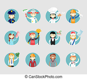 Professional women avatar set on round web buttons a police...