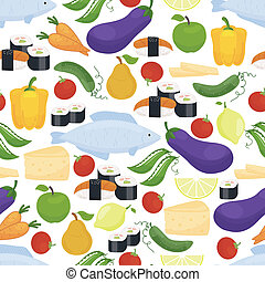 Healthy food seamless background pattern with colorful...